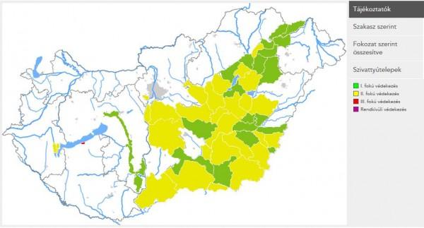 Belvízvédelmi készültségi fokozatok 2016.02.26-án (friss adatokért katt. a képre!)
