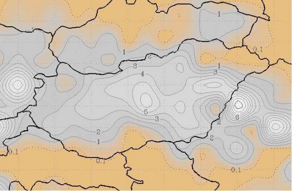 2018.01.14. (vasárnap) reggelig várhatóan lehulló hó összege
