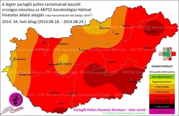 34. heti parlagfű pollen térkép